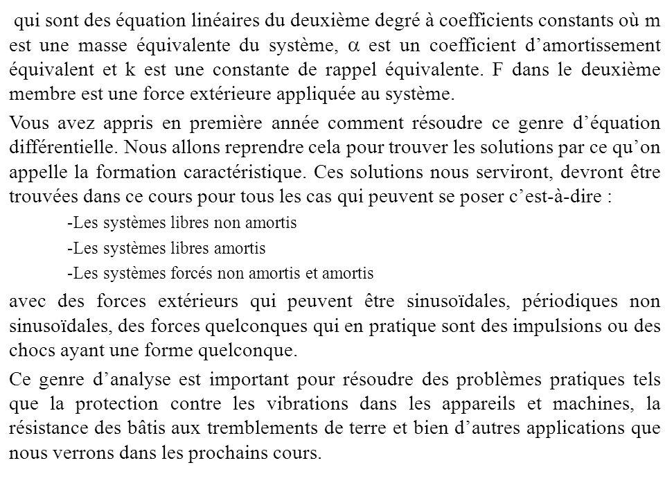 Equations des vibrations (2) Système libre non amortis Equation Equation caractéristique et racines : Solution C 1 et C 2 dépendent des conditions initiales du système.