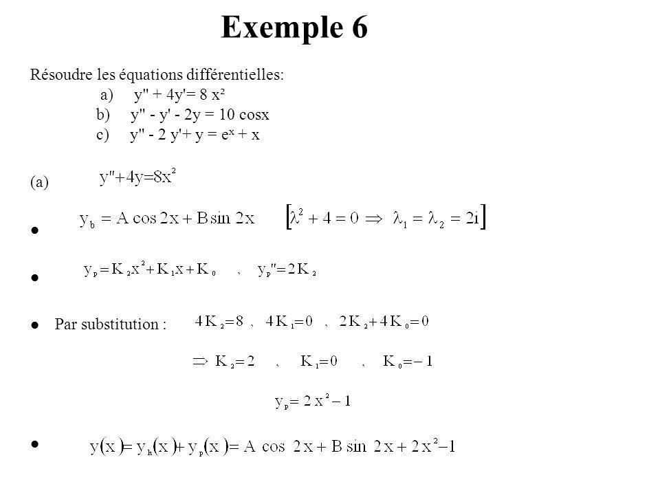 Exemple 6 Résoudre les équations différentielles: a) y