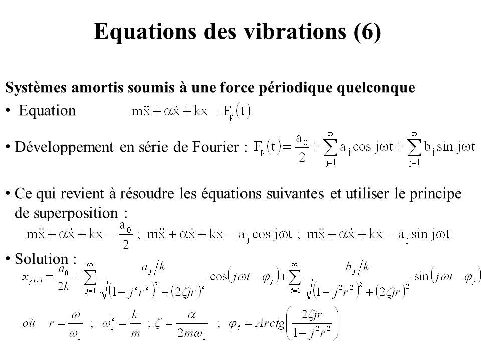Equations des vibrations (6) Systèmes amortis soumis à une force périodique quelconque Equation Développement en série de Fourier : Ce qui revient à r