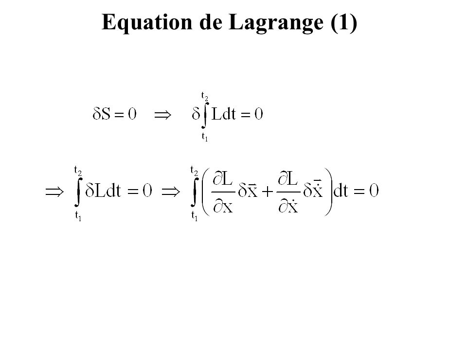 Equations de Lagrange (2)