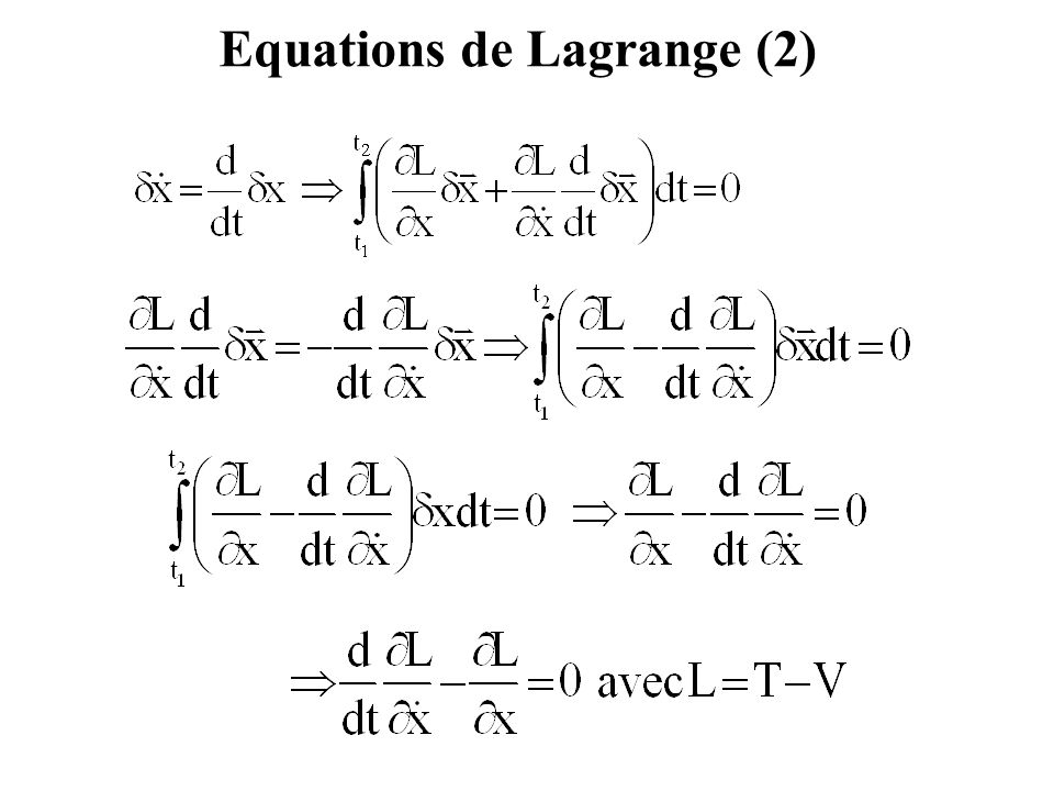 Mettre : Dans : On obtient : Deuxième loi de Newton à partir de l'équation de Lagrange