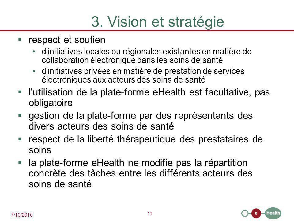 11 7/10/2010 3. Vision et stratégie  respect et soutien d'initiatives locales ou régionales existantes en matière de collaboration électronique dans