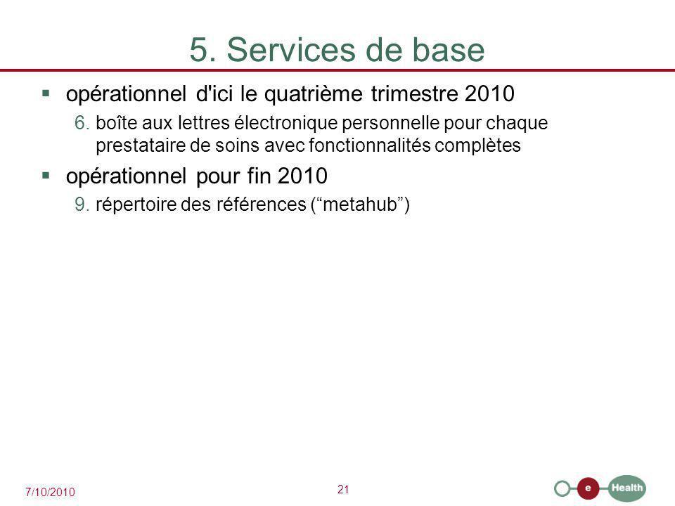 21 7/10/2010 5. Services de base  opérationnel d'ici le quatrième trimestre 2010 6.boîte aux lettres électronique personnelle pour chaque prestataire