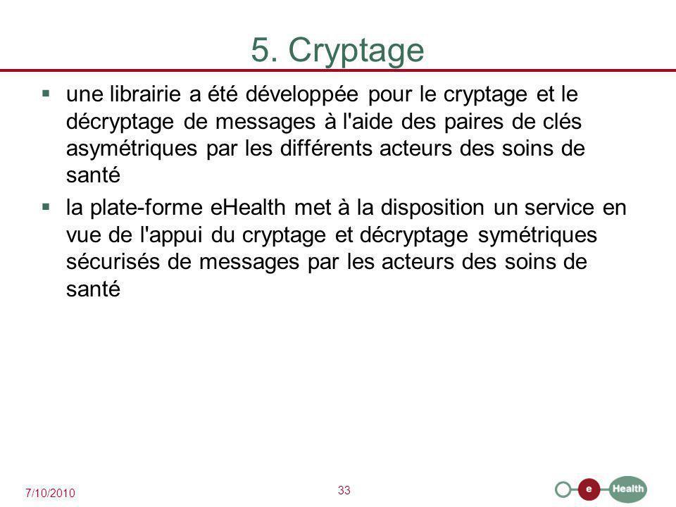 33 7/10/2010 5. Cryptage  une librairie a été développée pour le cryptage et le décryptage de messages à l'aide des paires de clés asymétriques par l