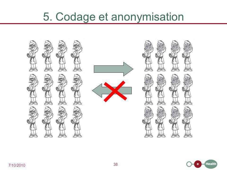 38 7/10/2010 5. Codage et anonymisation