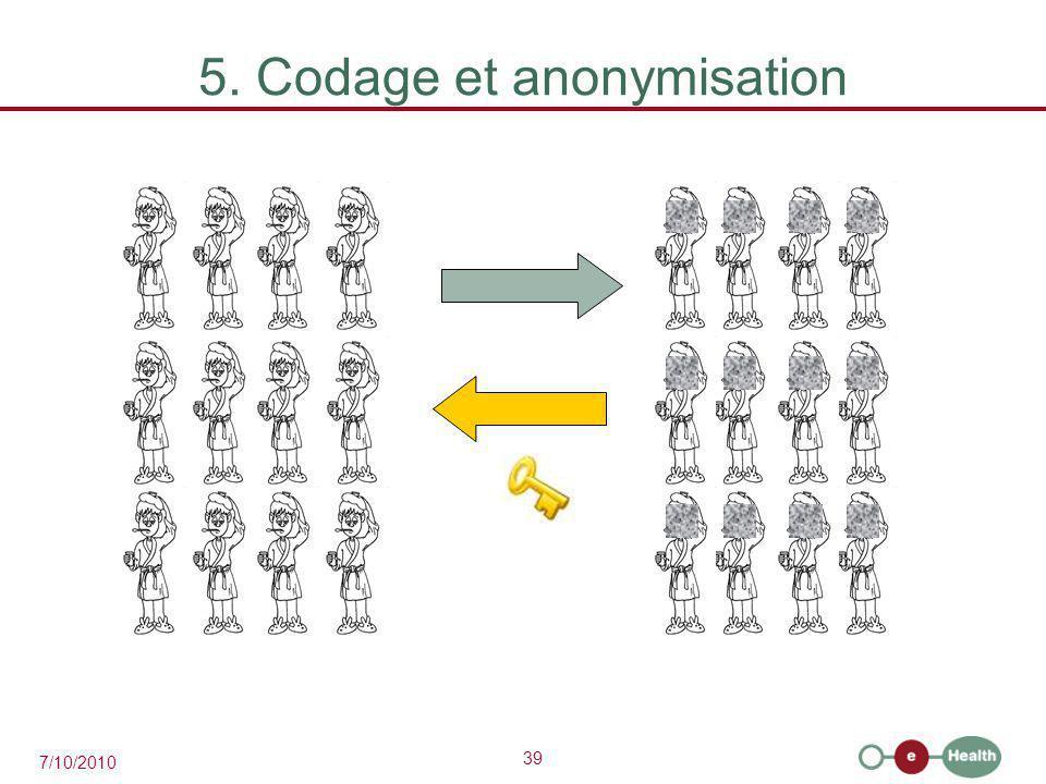 39 7/10/2010 5. Codage et anonymisation