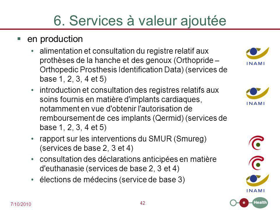 42 7/10/2010 6. Services à valeur ajoutée  en production alimentation et consultation du registre relatif aux prothèses de la hanche et des genoux (O
