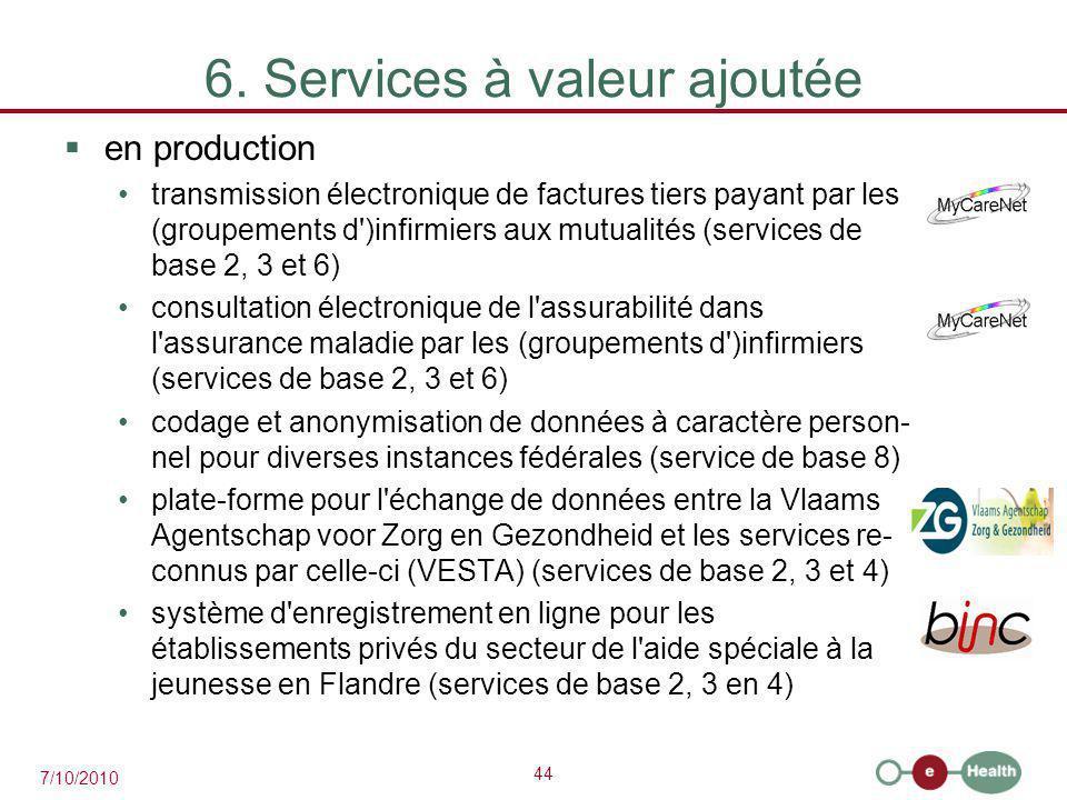 44 7/10/2010 6. Services à valeur ajoutée  en production transmission électronique de factures tiers payant par les (groupements d')infirmiers aux mu