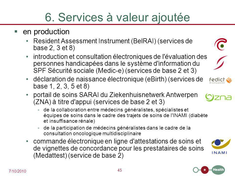 45 7/10/2010 6. Services à valeur ajoutée  en production Resident Assessment Instrument (BelRAI) (services de base 2, 3 et 8) introduction et consult