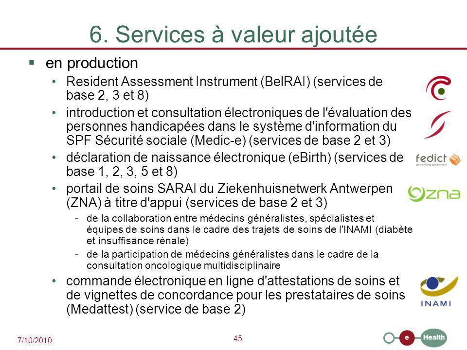 45 7/10/2010 6. Services à valeur ajoutée  en production Resident Assessment Instrument (BelRAI) (services de base 2, 3 et 8) introduction et consult