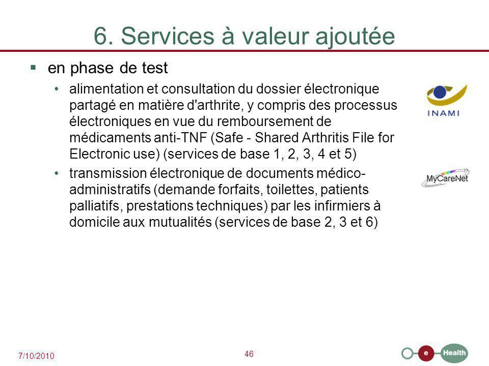 46 7/10/2010 6. Services à valeur ajoutée  en phase de test alimentation et consultation du dossier électronique partagé en matière d'arthrite, y com