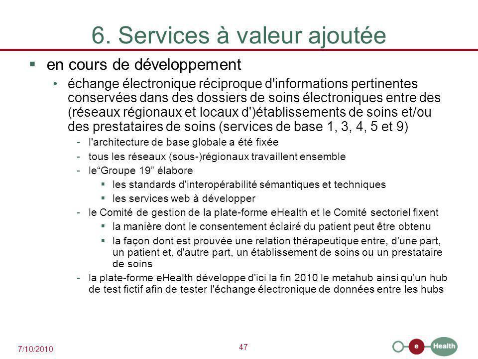 47 7/10/2010 6. Services à valeur ajoutée  en cours de développement échange électronique réciproque d'informations pertinentes conservées dans des d