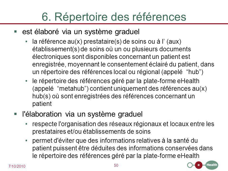 50 7/10/2010 6. Répertoire des références  est élaboré via un système graduel la référence au(x) prestataire(s) de soins ou à l' (aux) établissement(