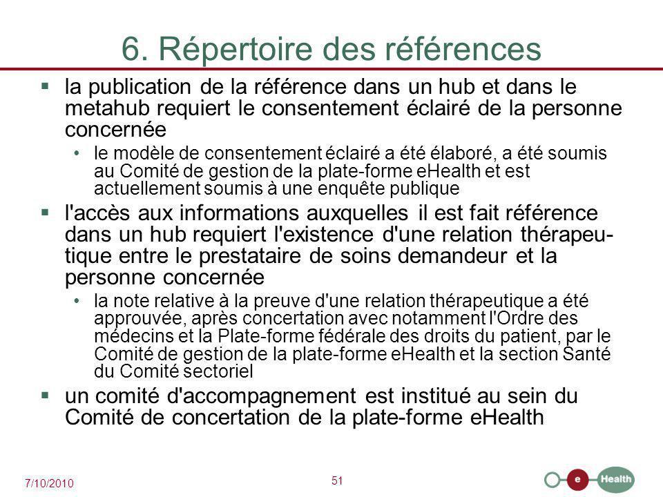 51 7/10/2010 6. Répertoire des références  la publication de la référence dans un hub et dans le metahub requiert le consentement éclairé de la perso