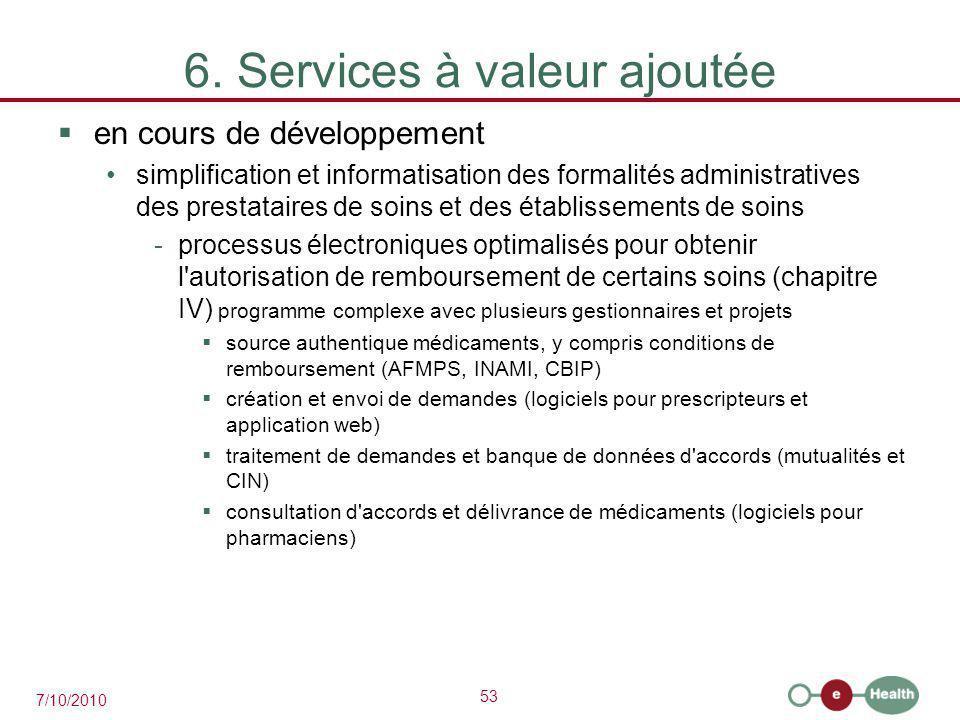 53 7/10/2010 6. Services à valeur ajoutée  en cours de développement simplification et informatisation des formalités administratives des prestataire