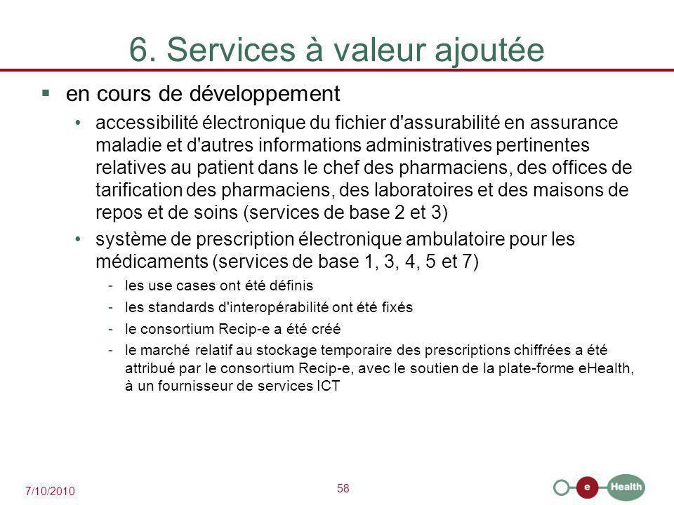 58 7/10/2010 6. Services à valeur ajoutée  en cours de développement accessibilité électronique du fichier d'assurabilité en assurance maladie et d'a