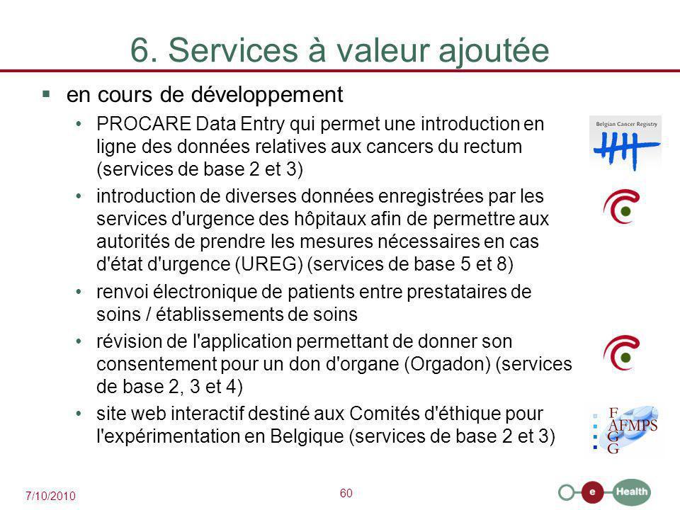 60 7/10/2010 6. Services à valeur ajoutée  en cours de développement PROCARE Data Entry qui permet une introduction en ligne des données relatives au