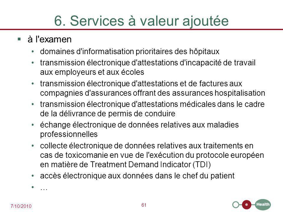 61 7/10/2010 6. Services à valeur ajoutée  à l'examen domaines d'informatisation prioritaires des hôpitaux transmission électronique d'attestations d