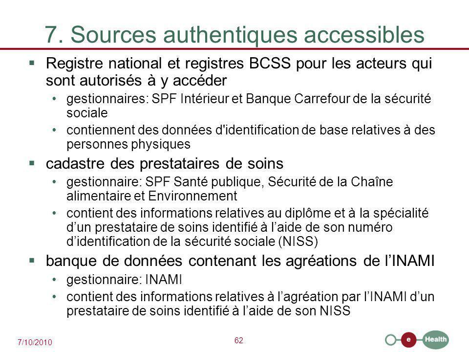 62 7/10/2010 7. Sources authentiques accessibles  Registre national et registres BCSS pour les acteurs qui sont autorisés à y accéder gestionnaires: