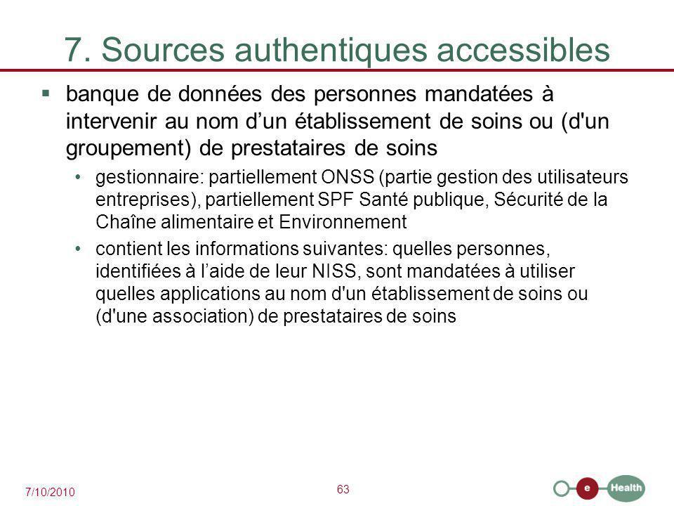 63 7/10/2010 7. Sources authentiques accessibles  banque de données des personnes mandatées à intervenir au nom d'un établissement de soins ou (d'un