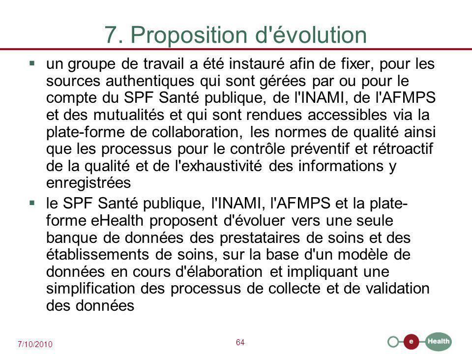 64 7/10/2010 7. Proposition d'évolution  un groupe de travail a été instauré afin de fixer, pour les sources authentiques qui sont gérées par ou pour