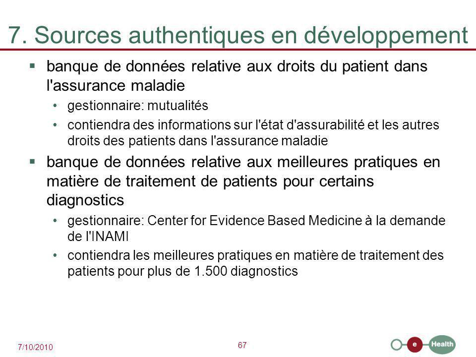 67 7/10/2010 7. Sources authentiques en développement  banque de données relative aux droits du patient dans l'assurance maladie gestionnaire: mutual