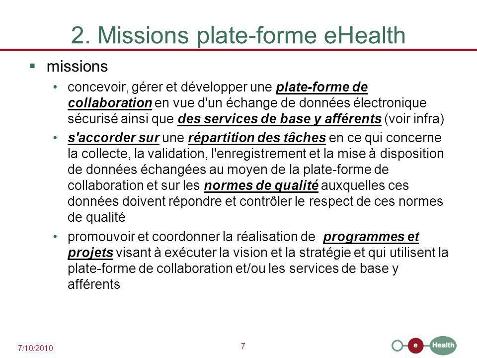 7 7/10/2010 2. Missions plate-forme eHealth  missions concevoir, gérer et développer une plate-forme de collaboration en vue d'un échange de données