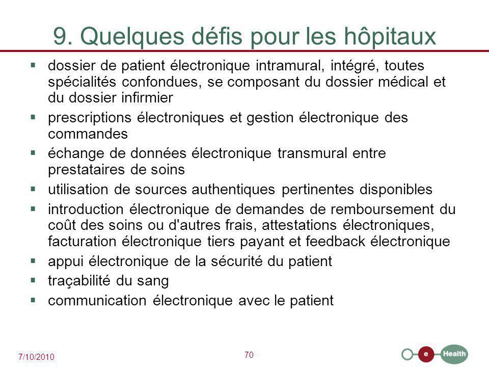 70 7/10/2010 9. Quelques défis pour les hôpitaux  dossier de patient électronique intramural, intégré, toutes spécialités confondues, se composant du
