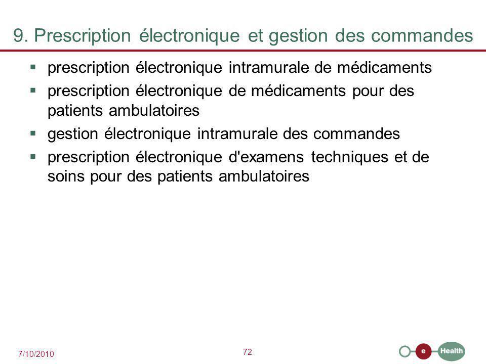 72 7/10/2010 9. Prescription électronique et gestion des commandes  prescription électronique intramurale de médicaments  prescription électronique