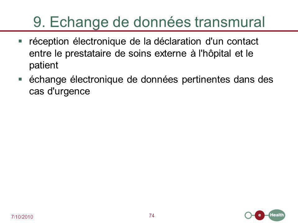 74 7/10/2010 9. Echange de données transmural  réception électronique de la déclaration d'un contact entre le prestataire de soins externe à l'hôpita