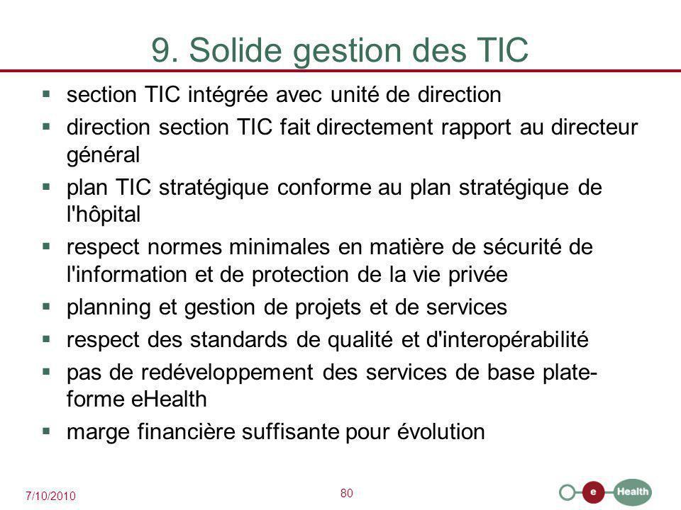 80 7/10/2010 9. Solide gestion des TIC  section TIC intégrée avec unité de direction  direction section TIC fait directement rapport au directeur gé