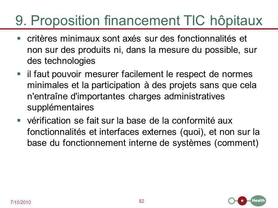 82 7/10/2010 9. Proposition financement TIC hôpitaux  critères minimaux sont axés sur des fonctionnalités et non sur des produits ni, dans la mesure