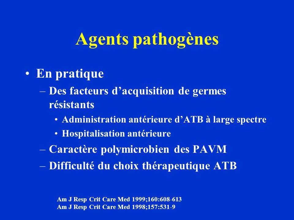 Agents pathogènes En pratique –Des facteurs d'acquisition de germes résistants Administration antérieure d'ATB à large spectre Hospitalisation antérie