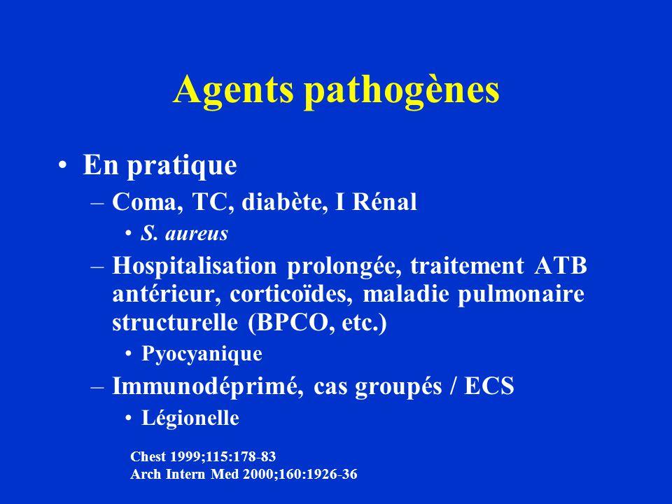 Agents pathogènes En pratique –Coma, TC, diabète, I Rénal S. aureus –Hospitalisation prolongée, traitement ATB antérieur, corticoïdes, maladie pulmona