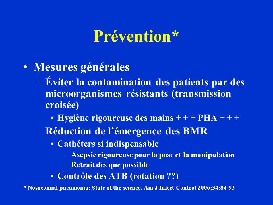 Prévention* Mesures générales –Éviter la contamination des patients par des microorganismes résistants (transmission croisée) Hygiène rigoureuse des m
