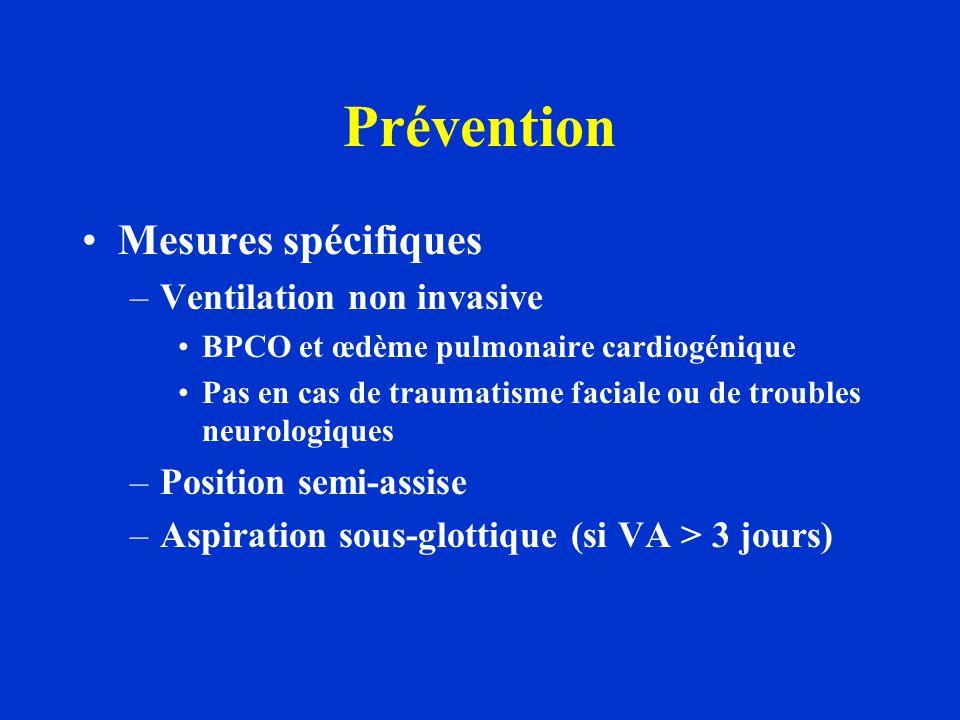 Prévention Mesures spécifiques –Ventilation non invasive BPCO et œdème pulmonaire cardiogénique Pas en cas de traumatisme faciale ou de troubles neuro