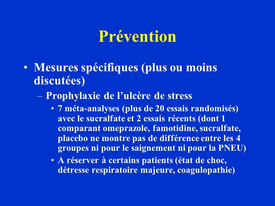 Prévention Mesures spécifiques (plus ou moins discutées) –Prophylaxie de l'ulcère de stress 7 méta-analyses (plus de 20 essais randomisés) avec le suc