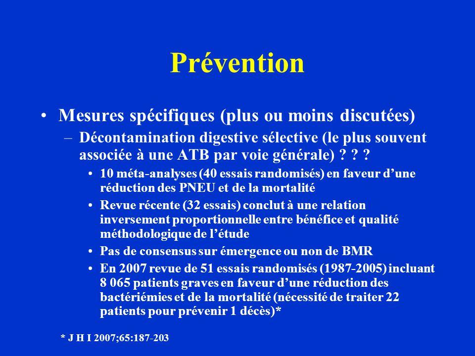 Prévention Mesures spécifiques (plus ou moins discutées) –Décontamination digestive sélective (le plus souvent associée à une ATB par voie générale) ?
