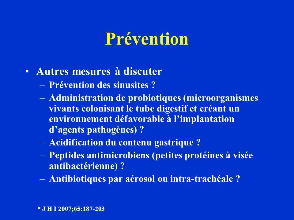 Prévention Autres mesures à discuter –Prévention des sinusites ? –Administration de probiotiques (microorganismes vivants colonisant le tube digestif