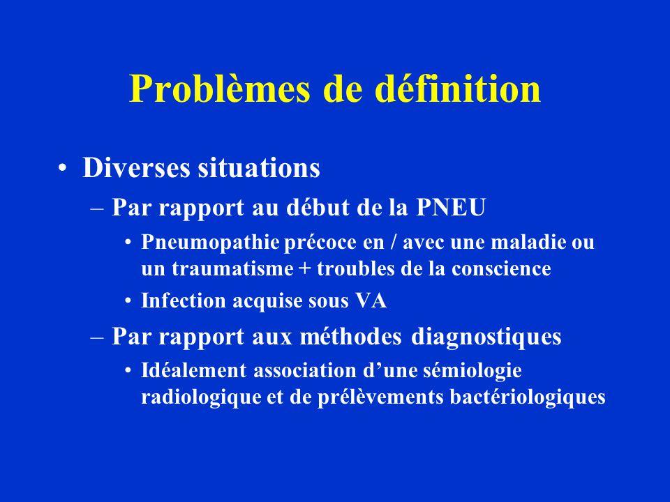 Problèmes de définition Diverses situations –Par à des états cliniques particuliers Impossibilité d'avoir une radio Non fiabilité des prélèvements chez le sujet non intubé Présence d'une pathologie pulmonaire structurelle rendant difficile l'interprétation radiologique –Par rapport à des épisodes multiples au cours d'un même séjour