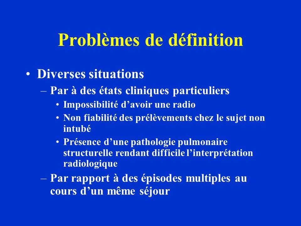 Problèmes de définition Diverses situations –Par à des états cliniques particuliers Impossibilité d'avoir une radio Non fiabilité des prélèvements che