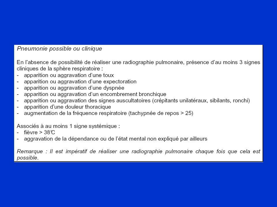 Conséquences Mortalité variable mais dépendante de –Type d'hospitalisation (réanimation) –Comorbidité (maladie sous jacente) Mortalité attribuable / épisode jusqu'à 30%* Durée supplémentaire de séjour de 7 à 10j** –10 000 à 40 000 € / patient ventilé*** *Am J Resp Crit Care Med 2002;165:867-903 ** Am J Resp Crit Care Med 1999;159:1249_56 *** Crit Care Med 2003;31:1312-7