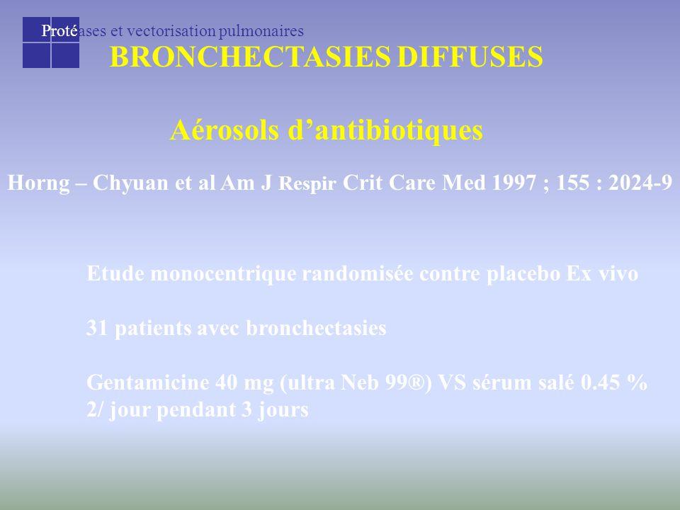 Protéases et vectorisation pulmonaires BRONCHECTASIES DIFFUSES Aérosols d'antibiotiques Horng – Chyuan et al Am J Respir Crit Care Med 1997 ; 155 : 2024-9 Etude monocentrique randomisée contre placebo Ex vivo 31 patients avec bronchectasies Gentamicine 40 mg (ultra Neb 99®) VS sérum salé 0.45 % 2/ jour pendant 3 jours