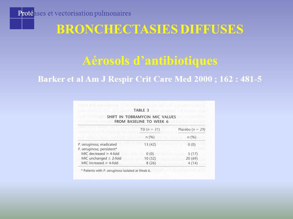 Protéases et vectorisation pulmonaires BRONCHECTASIES DIFFUSES Aérosols d'antibiotiques Barker et al Am J Respir Crit Care Med 2000 ; 162 : 481-5