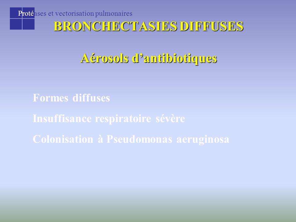 Protéases et vectorisation pulmonaires BRONCHECTASIES DIFFUSES Aérosols d'antibiotiques Formes diffuses Insuffisance respiratoire sévère Colonisation à Pseudomonas aeruginosa