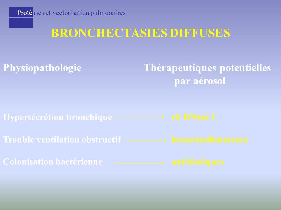 Protéases et vectorisation pulmonaires BRONCHECTASIES DIFFUSES PhysiopathologieThérapeutiques potentielles par aérosol Hypersécrétion bronchiquerh DNase I Trouble ventilation obstructifbronchodilatateurs Colonisation bactérienneantibiotiques