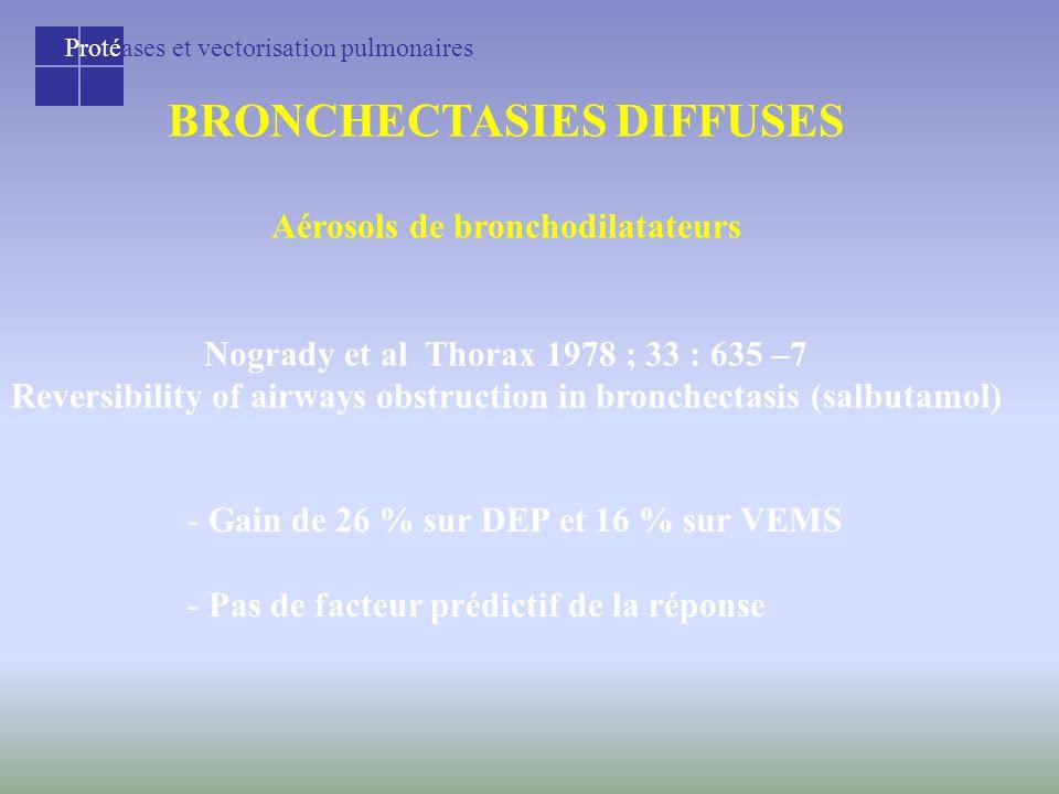 Protéases et vectorisation pulmonaires BRONCHECTASIES DIFFUSES Aérosols de bronchodilatateurs Nogrady et al Thorax 1978 ; 33 : 635 –7 Reversibility of airways obstruction in bronchectasis (salbutamol) - Gain de 26 % sur DEP et 16 % sur VEMS - Pas de facteur prédictif de la réponse