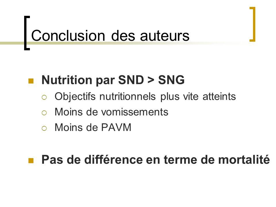 Conclusion des auteurs Nutrition par SND > SNG  Objectifs nutritionnels plus vite atteints  Moins de vomissements  Moins de PAVM Pas de différence