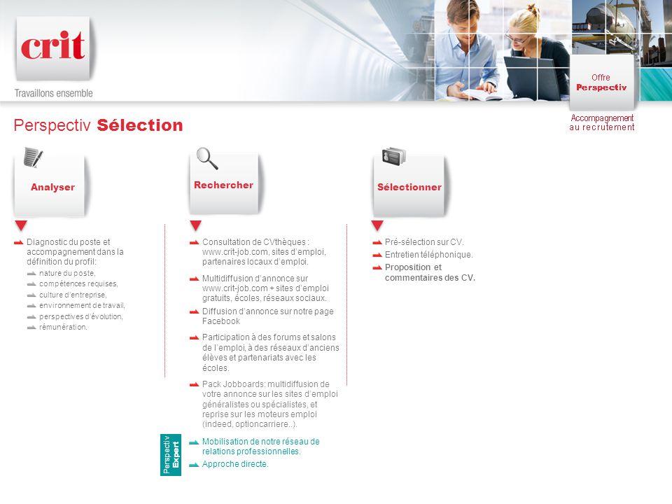 Perspectiv Sélection Diagnostic du poste et accompagnement dans la définition du profil: nature du poste, compétences requises, culture d'entreprise, environnement de travail, perspectives d'évolution, rémunération.