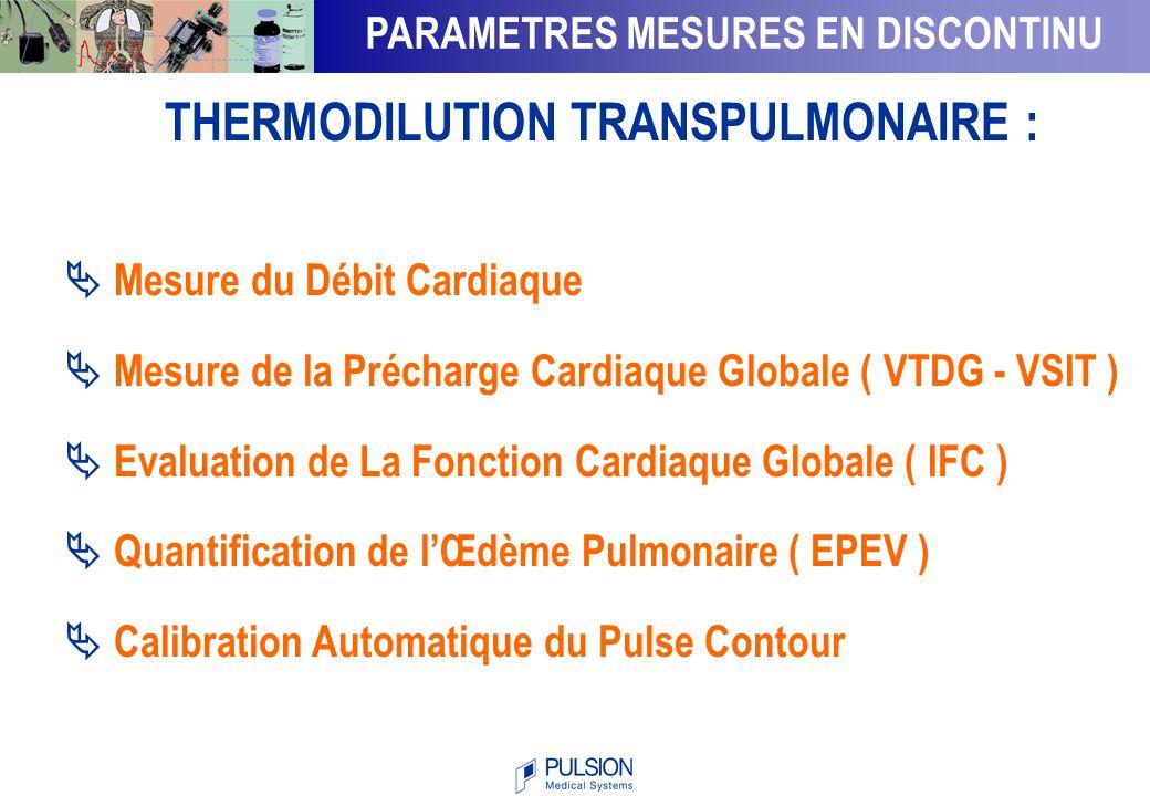 Volumes mesurés par Thermodilution THERMODILUTION TRANSPULMONAIRE